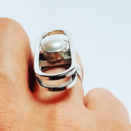 Sterling silver ring and pearl fte 91S16, Bijuterii de argint lucrate manual, handmade