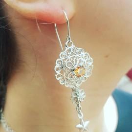 Sterling silver earrings and citrines Mindmyglams, Bijuterii de argint lucrate manual, handmade