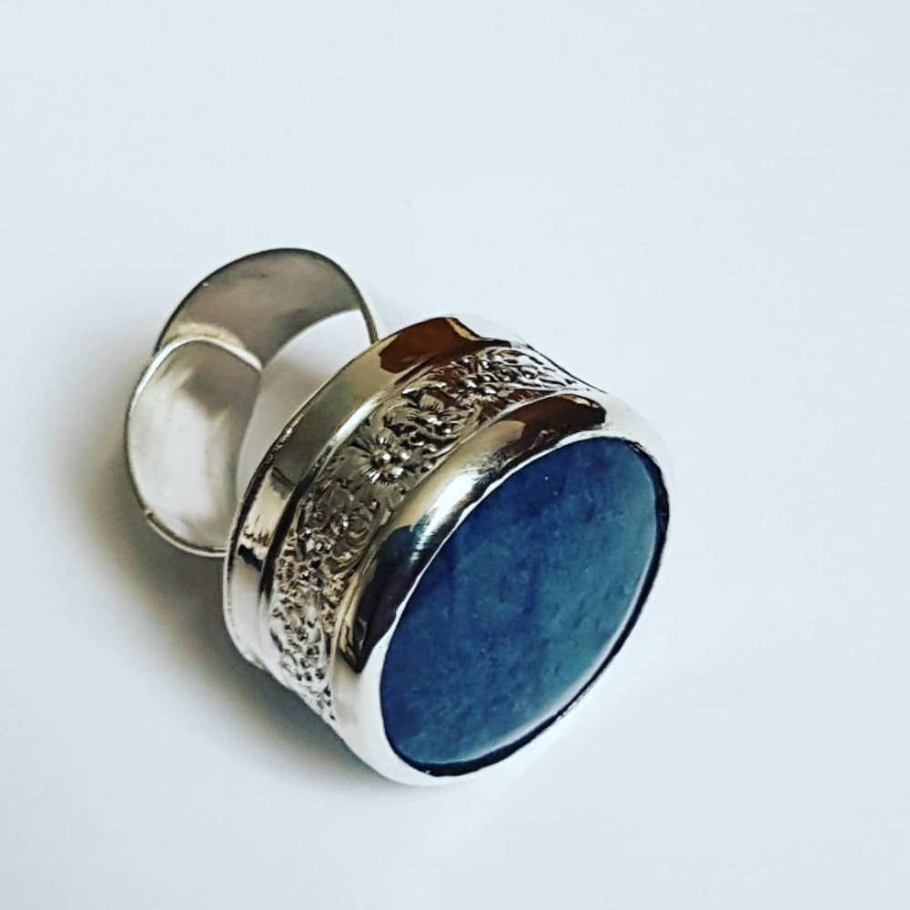 Large Sterling silver ring with natural lapislazuli BluePilgrim