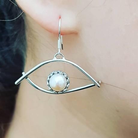 Sterling silver earrings and pearls Eye of Pearl, Bijuterii de argint lucrate manual, handmade