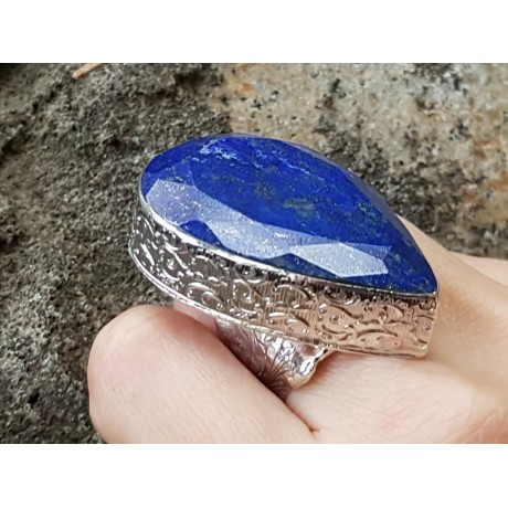 Large Sterling Silver ring with natural lapislazuli Darting Blue, Bijuterii de argint lucrate manual, handmade