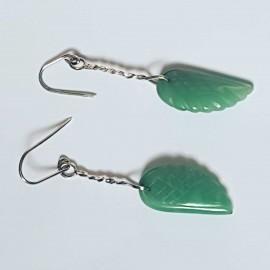 Sterling silver earrings and aventurine, Bijuterii de argint lucrate manual, handmade