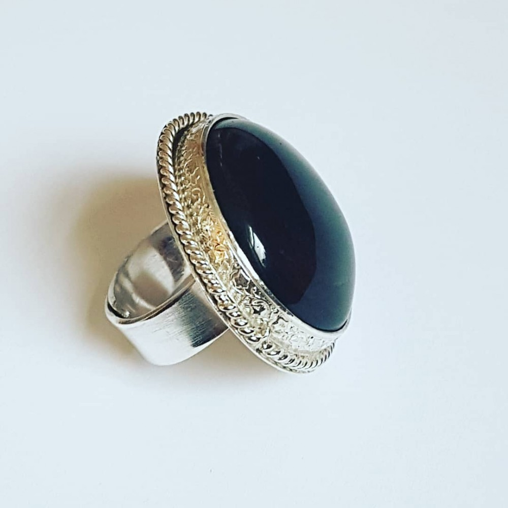 Sterling silver ring with natural gold sheen Obsidian