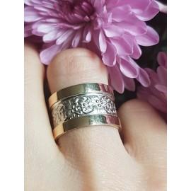 Sterling silver and gold wedding band BoundtoLove, Bijuterii de argint lucrate manual, handmade
