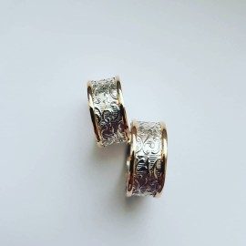 Sterling silver and gold wedding bands