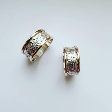Sterling silver and gold wedding bands, Bijuterii de argint lucrate manual, handmade