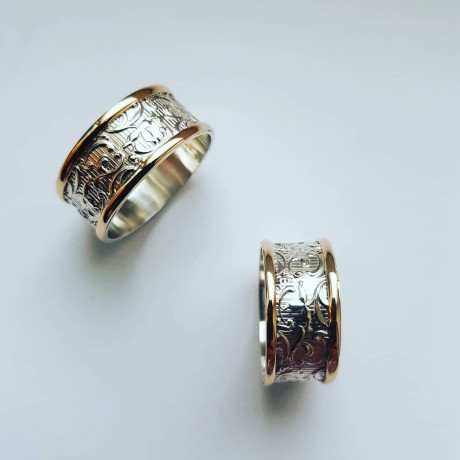 Sterling silver and gold wedding bands, Bijuterii de argint lucrate manual, handmade