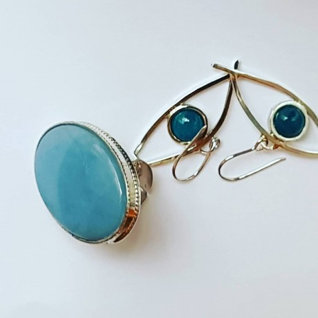Sterling silver earrings and aquamarines, Bijuterii de argint lucrate manual, handmade
