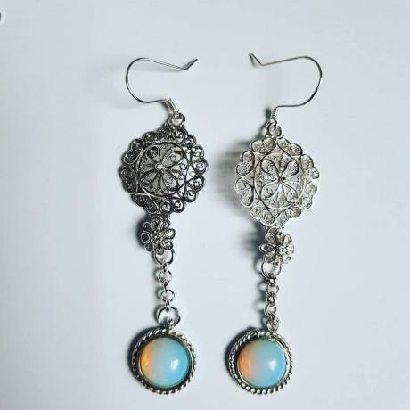 Sterling silver earrings and opalites Rowsofwhites, Bijuterii de argint lucrate manual, handmade