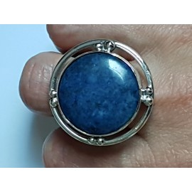 Large Sterling Silver ring with natural lapislazuli Blue Lure