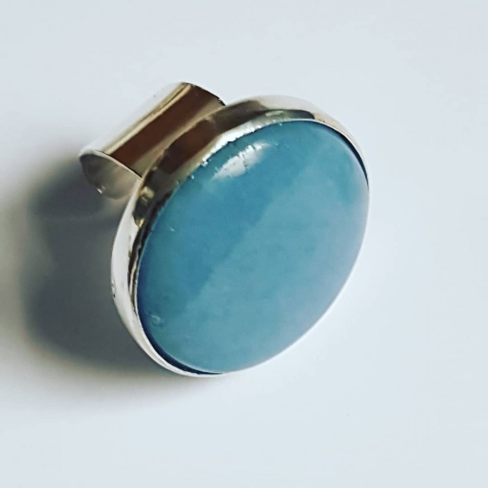 Handmade ring made of solid Ag925 silver and natural Angelite Seashore Weight