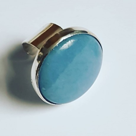 Handmade ring made of solid Ag925 silver and natural Angelite Seashore Weight, Bijuterii de argint lucrate manual, handmade