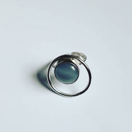 Handmade ring made of solid Ag925 silver and natural cat eyes Roundup on Gray, Bijuterii de argint lucrate manual, handmade