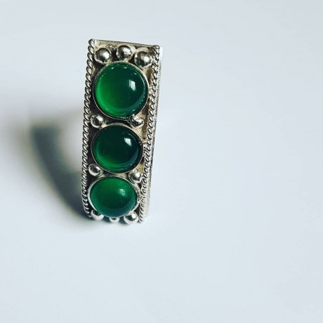 Handmade ring made of solid Ag925 silver and Overt Gramaj green agate, Bijuterii de argint lucrate manual, handmade