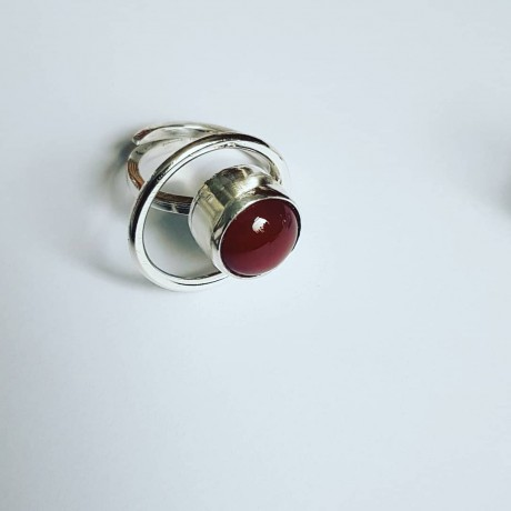 Ring made entirely by hand from Ag925 silver and natural carnelian Roundup on Red, Bijuterii de argint lucrate manual, handmade