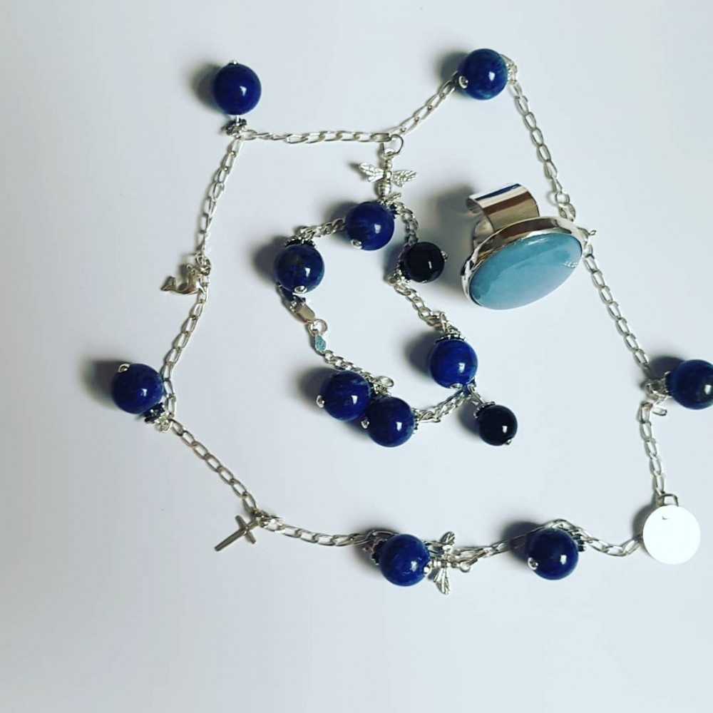 Ag925 silver bracelet with Onyx and natural Joys lapis lazuli