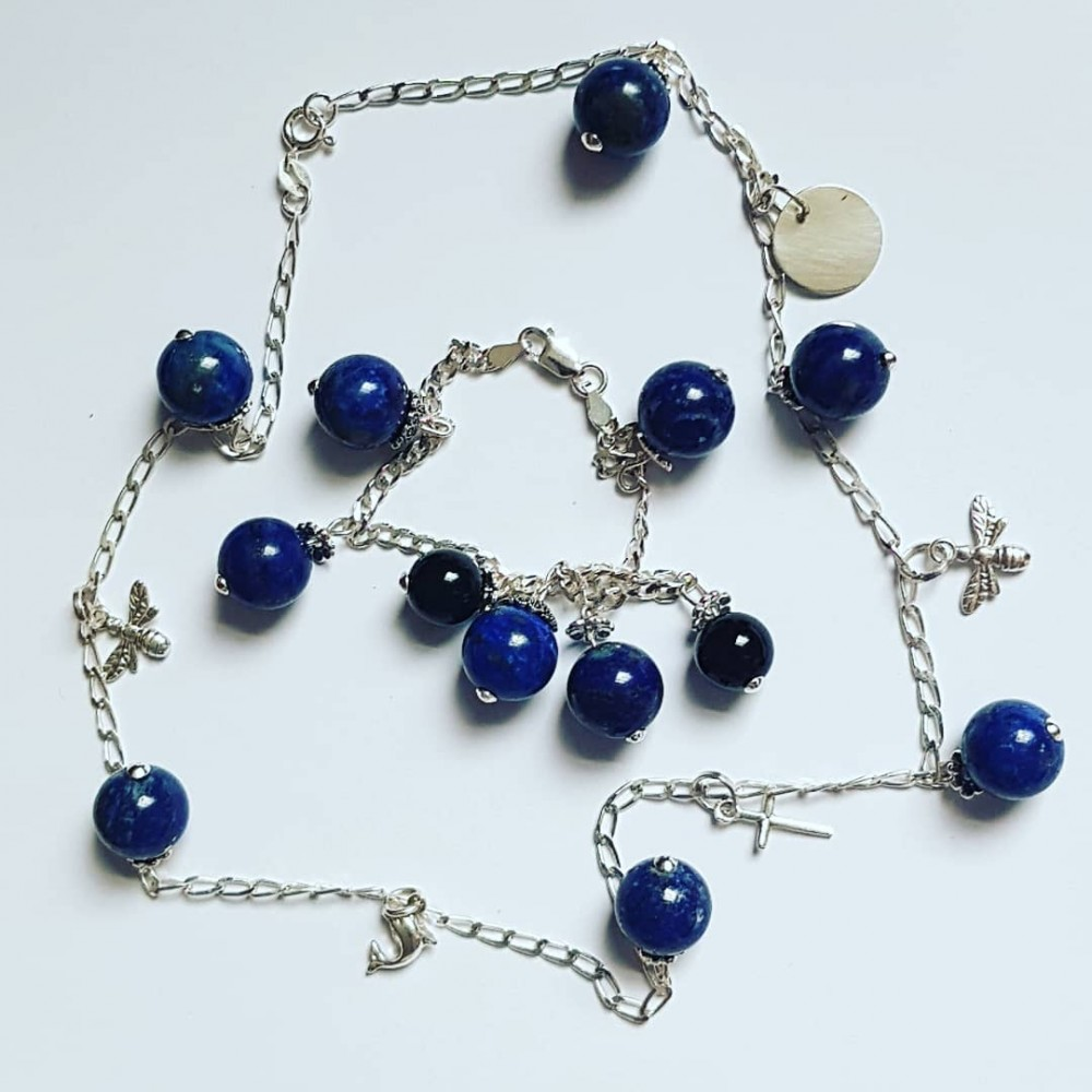 Ag925 silver necklace with silver figurines and natural lapis lazuli Summer Delicacies