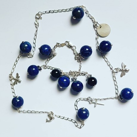 Ag925 silver necklace with silver figurines and natural lapis lazuli Summer Delicacies, Bijuterii de argint lucrate manual, handmade