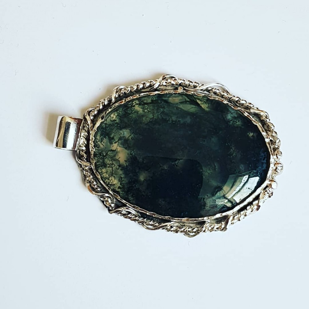 LARGE pendant made entirely by hand from solid Ag925 silver and natural Agate Moss