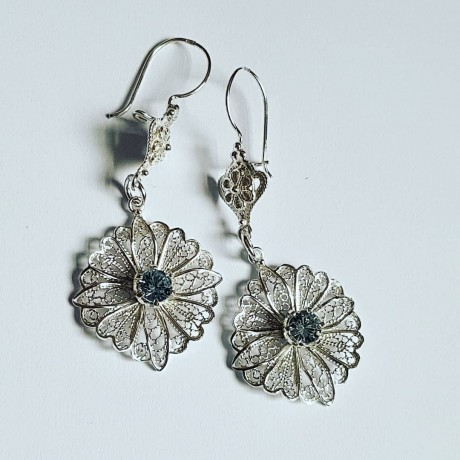 Earrings made entirely by hand in Ag925 silver and aquamarine, Bijuterii de argint lucrate manual, handmade