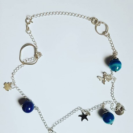 Ag925 silver necklace, silver and blue agate elements, Bijuterii de argint lucrate manual, handmade