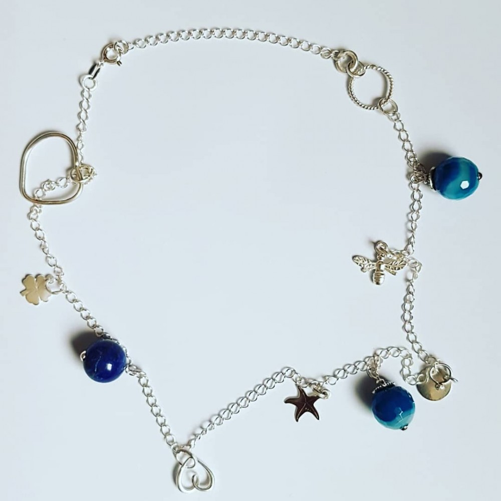 Ag925 silver necklace, silver and blue agate elements
