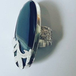 Sterling silver ring with natural sardonix Mark My Stripes