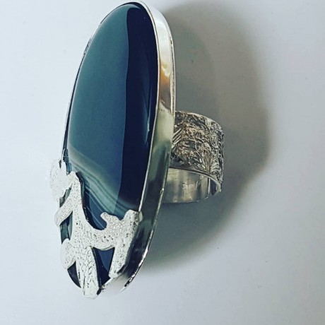 Sterling silver ring with natural sardonix Mark My Stripes, Bijuterii de argint lucrate manual, handmade