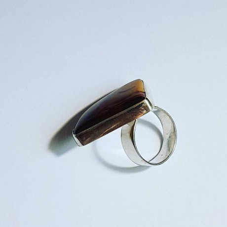 Ring made entirely by hand from Ag925 silver and natural Red Fan jasper, Bijuterii de argint lucrate manual, handmade
