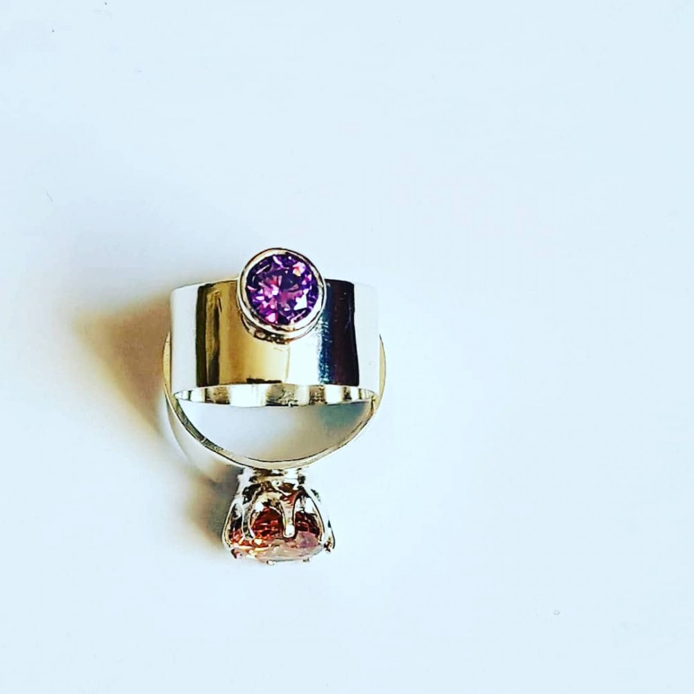 Engagement ring made entirely by hand in Ag925 silver and amethyst