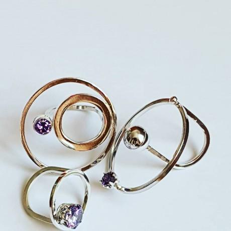 Ring made entirely by hand in Ag925 silver and Ravish Wavish amethyst, Bijuterii de argint lucrate manual, handmade
