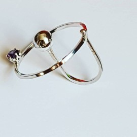 Ring made entirely by hand in Ag925 silver and Topsical amethyst