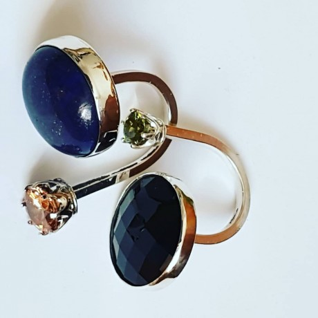 Ring made entirely by hand in Ag925 silver, natural lapis lazuli and citrine dalloz, Bijuterii de argint lucrate manual, handmade