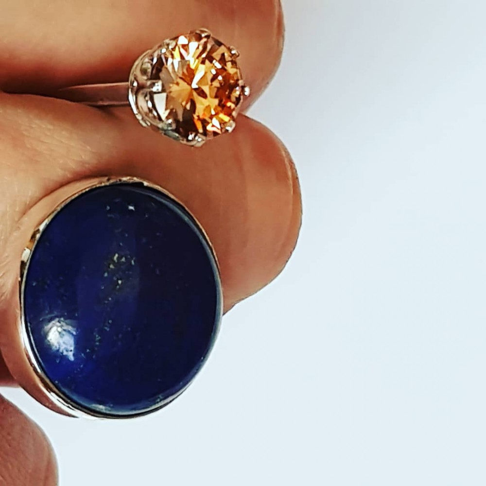Ring made entirely by hand in Ag925 silver, natural lapis lazuli and citrine dalloz