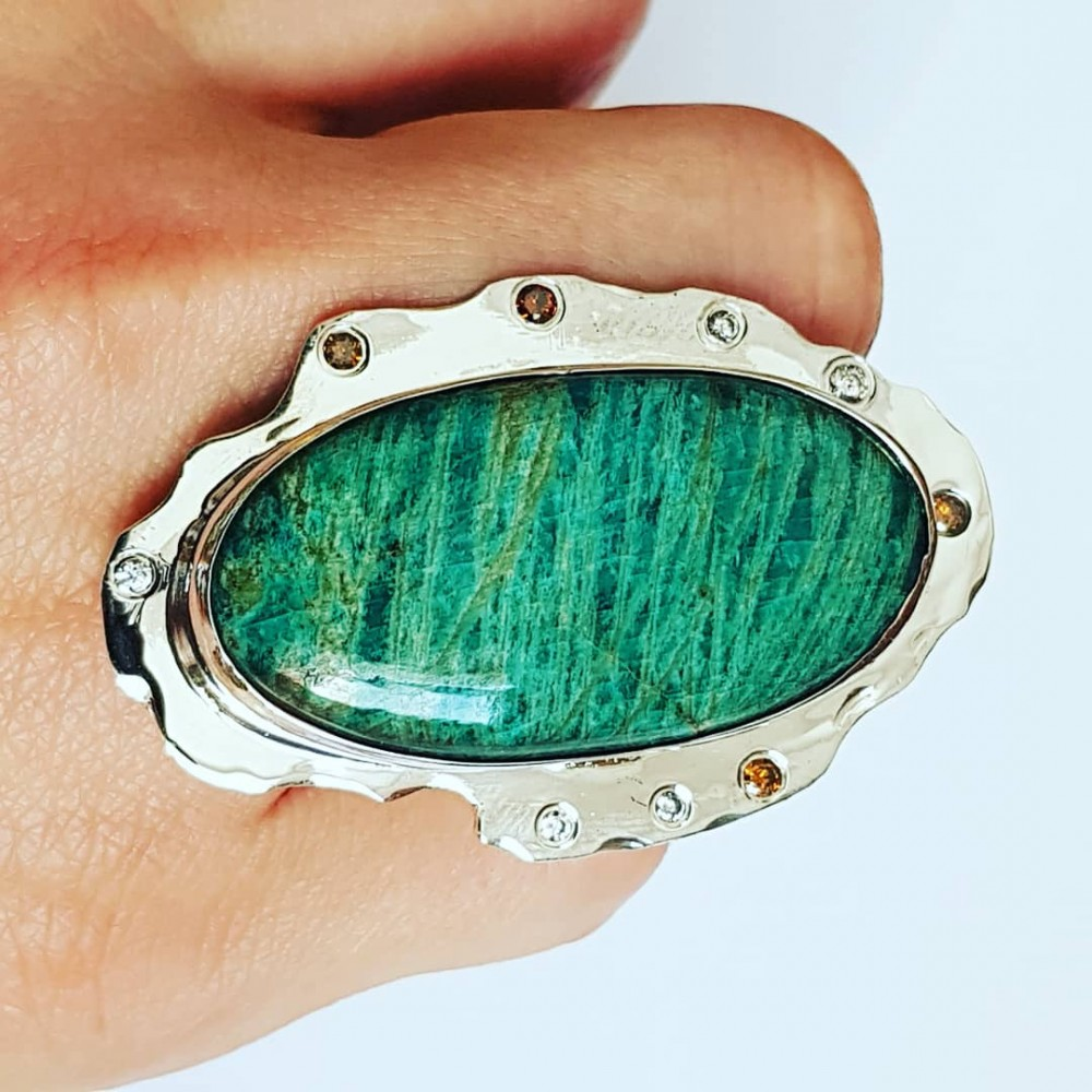 Handmade ring made entirely of solid Ag925 silver with natural Amazonite and citrine dalloz