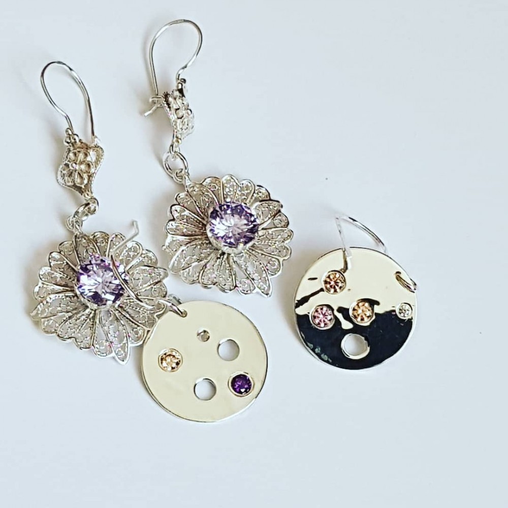 Handmade earrings in Ag925 silver and citrine dalloz, zirconia and amethyst