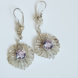 Handmade earrings in Ag925 silver and lavender amethyst, Bijuterii de argint lucrate manual, handmade