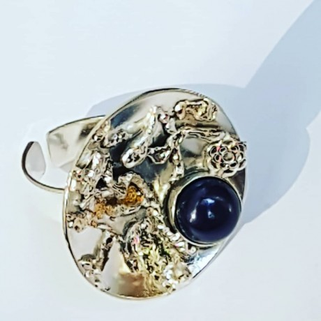 Handmade ring in solid Ag925 silver, 18k gold leaf and Enchanted Woodlands cultured pearl, Bijuterii de argint lucrate manual, handmade