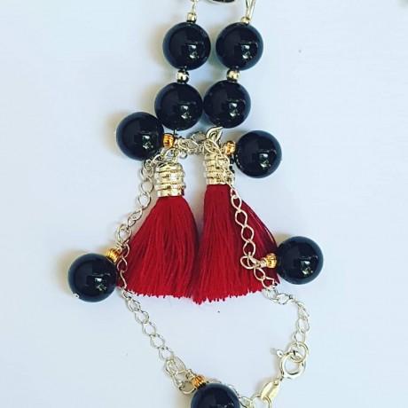 Ag925 earrings with natural black onyx and silver tassels, Bijuterii de argint lucrate manual, handmade