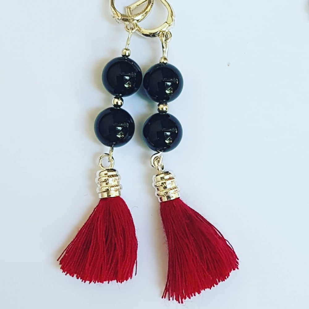 Ag925 earrings with natural black onyx and silver tassels