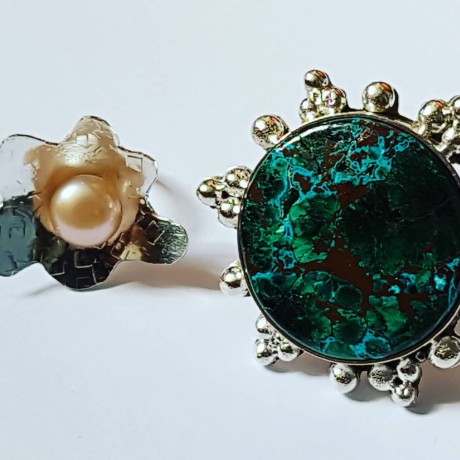 Inel lucrat manual integral în argint Ag925 și perlă de cultură Tentacles, Bijuterii de argint lucrate manual, handmade