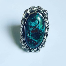 Handmade ring in solid Ag925 silver and natural druzy chrysocola Druzy Love