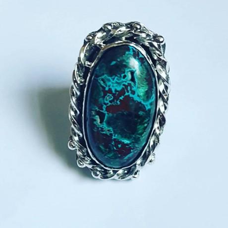 Handmade ring in solid Ag925 silver and natural druzy chrysocola Druzy Love, Bijuterii de argint lucrate manual, handmade