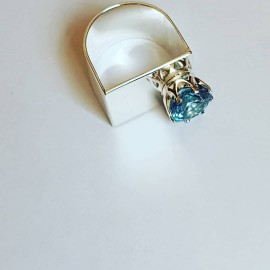 Handmade ring in solid Ag925 silver and aquamarine Lady of Shallow Waters