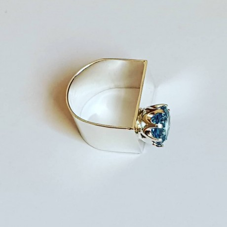 Handmade ring in solid Ag925 silver and aquamarine Lady of Shallow Waters, Bijuterii de argint lucrate manual, handmade