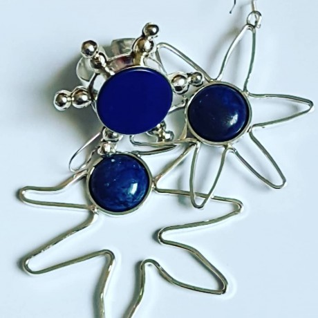 Earrings made entirely by hand in Ag925 silver and natural lapis lazuli Creatures of the Sea, Bijuterii de argint lucrate manual, handmade