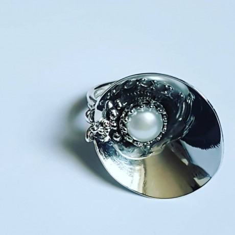 Handmade ring in solid Ag925 silver and cultured pearl Bucketfullofpearls, Bijuterii de argint lucrate manual, handmade