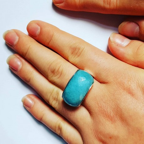 Ring made entirely by hand in Ag925 silver and natural Angelite BlueSpottie, Bijuterii de argint lucrate manual, handmade