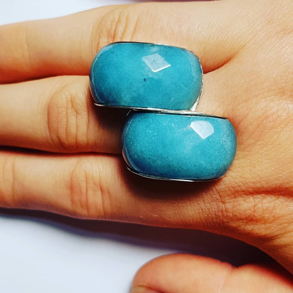 Handmade ring made of Ag925 silver and natural Angelite Emulation