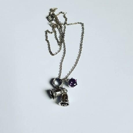 Ag925 silver pendant and chain and amethyst, Bijuterii de argint lucrate manual, handmade